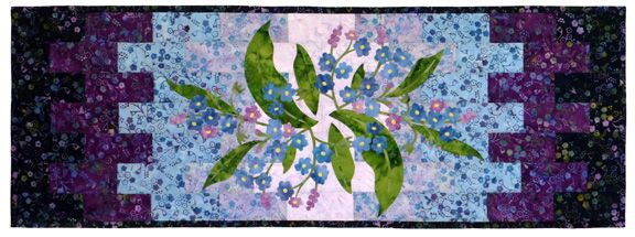 forget me not applique table runner laser-cut