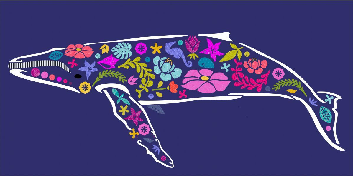beachcomber whale laser cut quilt kit - madi hastings