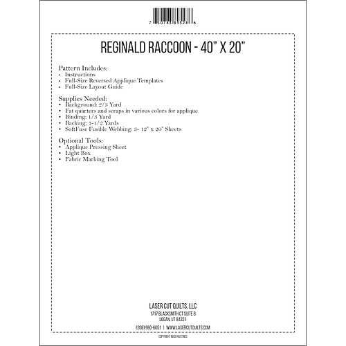 Reginald Raccoon Pattern